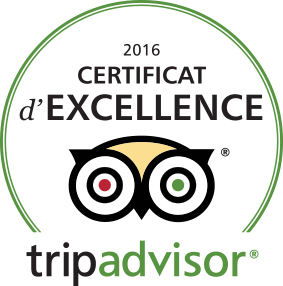 Certificate of Excellence from Tripadvisor for hotel Montaulbain between Reims and Metz